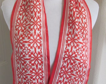 """Scarf Red White Double Layer Skinny Fashion Sash Necktie Scarf  5"""" x 40"""" Long - Affordable Scarves!!!"""