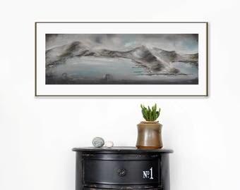 Dining room wall art, horizontal painting, dark landscape, coastal painting, moody landscape, long painting, original painting
