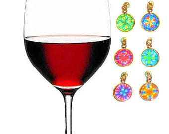 Mandala Wine Charms - Magnetic Wine Glass Charms - Wine Markers - Stemware Charms - Stemless Wine Charms - Housewarming Gifts- WC