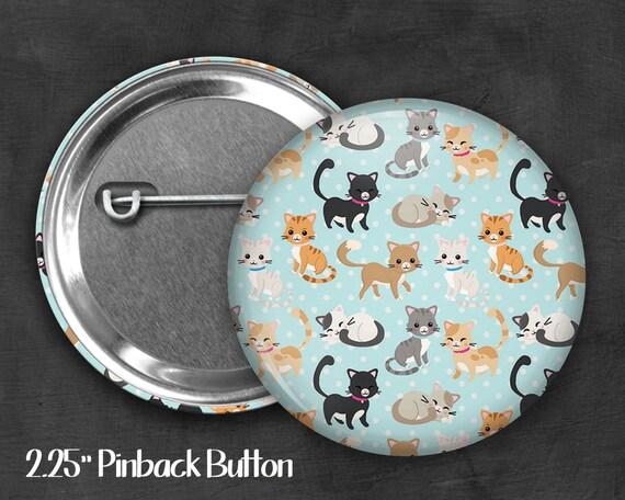 """2.25"""" Cat Pinback Button, Geek Button, Geekery, Button, Kawaii Button, Badges, Flare, Pin, Kawaii, Fairy Kei, Pastel Goth"""