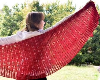Lace Knit Shawl Pattern - ELLYSIA SHAWL Knitting Pattern PDF - Instant Download