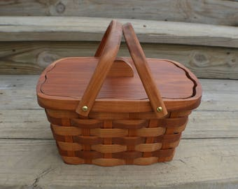 Wood Sewing Basket lid handles and liner Cherry wood