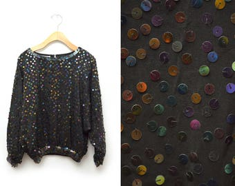80s Black Sequined Blouse Silk Women's Small