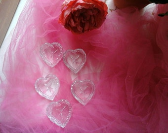 5 vintage heart shaped salts
