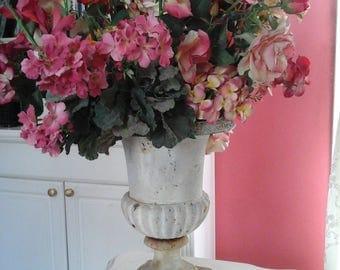 LARGE Vintage painted iron urn