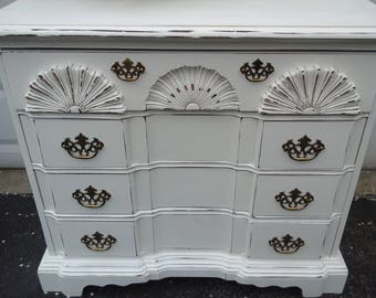 shabby chic chest with carved shell detail