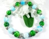 Multicolor Green Glass & Blue Glass Bracelet w Silver Accents, Stackable Bracelets, Fashion Bracelet, Boho Chic Trending Womens Jewelry
