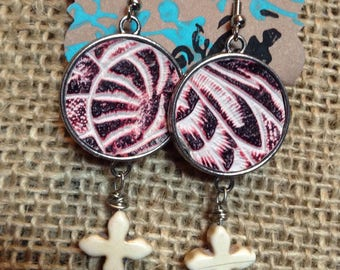 Western pink embossed leather and white magnesite cross earrings #E16