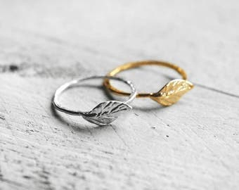 LEAF ring with leaf | silver
