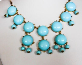 Vintage Teal Bib Necklace   24 Inch