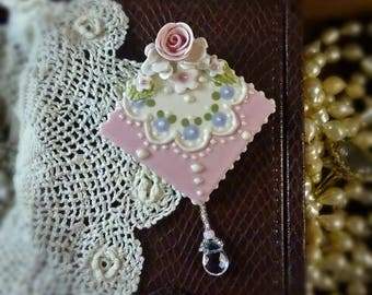 Brooch Cheeky Pink and Rose Lace Pin