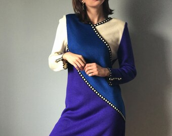 Vintage 80s Color Block Sweater Dress