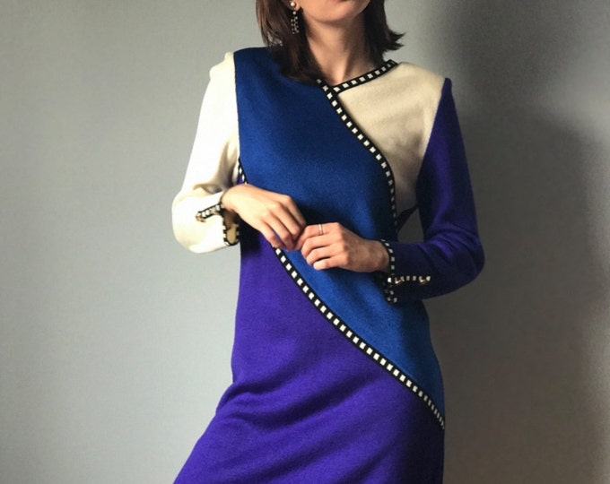 Vintage 80s Colorblock Sweater Dress