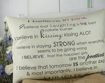 Large Audrey Hepburn I Believe Inspirational Quote Pillow with Insert