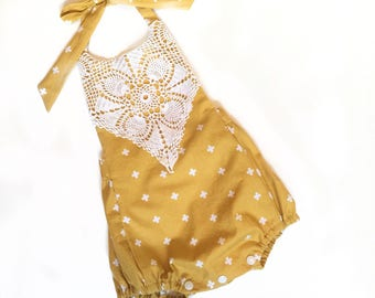 Girls Mustard Yellow Romper With Vintage Lace Trim Made to Order in sizes 3 mo - 3t