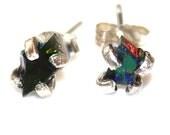 Tiny Black Opal Earring Raw Stud Earring Organic Earring Tumbled Opal Jewelry Raw Opal Earrings Raw Black Opal Tiny Opal Stud Rustic Earring