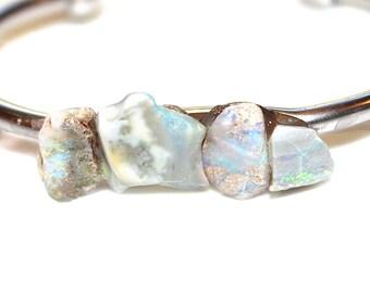 Raw Australian Opal Cuff Raw Stone Cuff Opal Bracelet Raw Opal Bracelet Boho Bracelet Boho Cuff Stacking Bangle Modern Jewelry