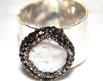 Pave Pearl Ring Cigar Band Ring Gold Silver Ring Adjustable Ring CZ Ring Fun Ring Chunky Ring Large Ring Pearl Jewelry Pave Ring Silver Band
