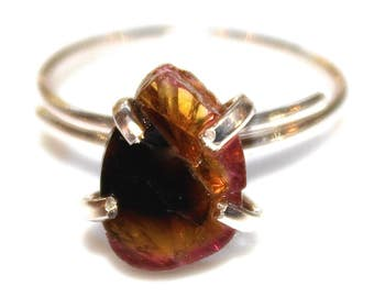 Yellow Watermelon Tourmaline Ring Watermelon Ring Sterling Silver Ring Adjustable Ring Watermelon Slice Tourmaline Jewelry Delicate Ring