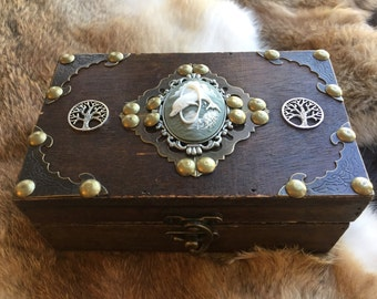 Dolphin Tree of Life and fairy tarot card or trinket box- pagan wiccan tarot jewelry