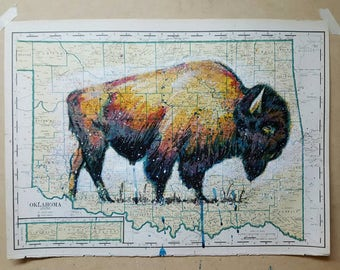 16x21 inch Oklahoma map 1930s with original Bison illustration