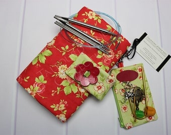 Interchangeable Knitting Needle Case - Needle Holder - Tip Organizer - Knitting Supply - Moda Fabrics - Red Green Floral - Gift for Knitters