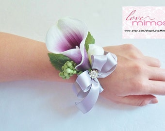 Wrist Corsage- Purple White Calla Lily and silver grey ribbons wrist Corsage