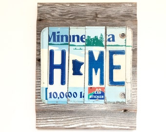 License Plate Sign, Minnesota Home Sign, License Plate Art, Reclaimed Barnwood Sign, Reclaimed Metal Sign,MN Home Decor,Rustic Home Decor
