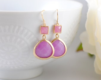 The Chantal Earrings - Purple Jade