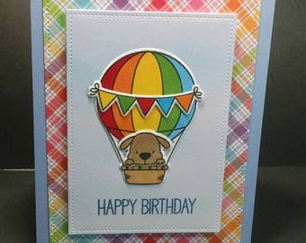 Hot Air Balloon with Dog Happy Birthday Card