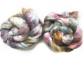 Superfine Merino Wool Mulberry Silk Blend Brick Destash Spinning Felting Fiber 139 gm 4,95 oz IN TWO PIECES 91 gm 3,2 oz plus 48 gm 1,7 oz