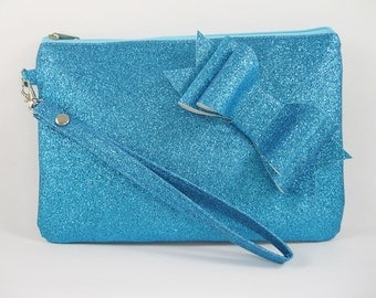 SUPER SALE - Blue Glitter Little Bow Clutch - Bridal Clutch, Bridesmaid Clutch, Wedding Clutch, Wedding GIft - Made To Order
