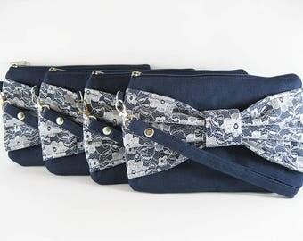 SALE - Navy Lace Bow Clutch / Bridal Clutch / Bridesmaids Clutch / Wedding Clutch | 9.90 USD per piece.