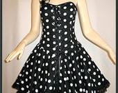 Black  White Polka Dot Corset Dress 80s Goth EMO Burlesque 50s OBSIDIAN SALE
