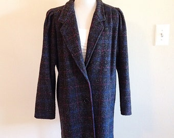 Vintage 1980s Oversize Grey Black Plaid New Wave Coat
