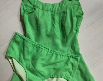 1960s 2-Piece Lime Green Swimsuit