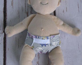 Doll Diaper-Handmade Diaper fits Baby Stella, Pottery Barn Doll other dolls-Gray, Purple and Mustard Elephant print-Great for pretend play