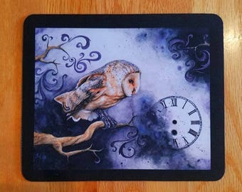 SALE! Mousepad - Timelapse, Steampunk Watercolour Owl Bird