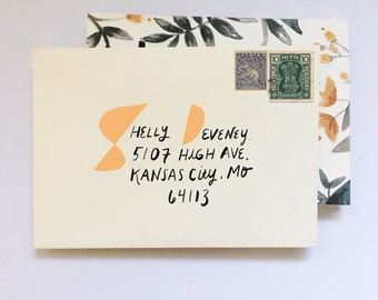 Hand addressed envelopes with cut-out - modern envelope
