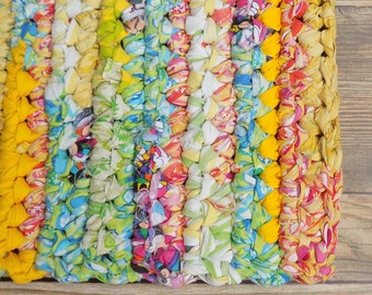 Rag Rug - Area Rug - Neon - Perfect for Teen Bedroom - Easy Care Machine Washable - Vivid Bright Bold Colors - Birthday Gift for Homebound