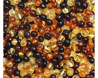 Baltic Amber Loose Beads 100 Pcs - Mixed colors - 100% Genuine Baltic Amber Guaranteed