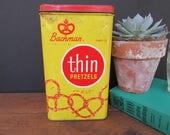Bachman Tin Vintage Pretzel Tin Retro Kitchen Decor