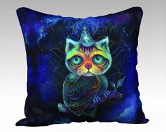 Cat Throw Pillow - owl cat art, velvet pillow, nature throw pillow, gift ideas, phresha pillow, designer pillow, fancy throw pillow