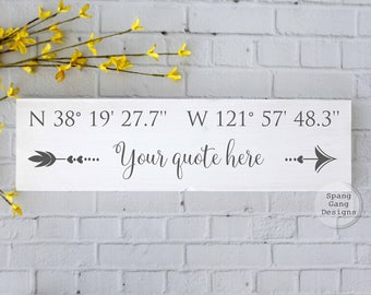 Wood sign latitude longitude | Etsy