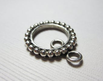 Sterling Silver Round Beaded Drop Pendant 20mm x 17mm- 1 PIECE
