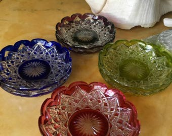 Sale ANTIQUE BACCARAT PLATES French Cut Glass Bohemian Colored Finger Bowl-Underplate Bohemian Style, Bought in Paris Circa 1920's