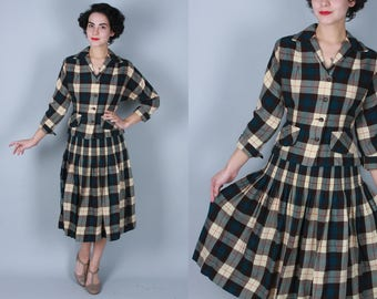 1940s Verdant suit | vintage 40s skirt suit in brown, cream, red, and dark teal plaid | small