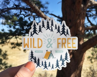 Wild And Free Illustration | Vinyl Sticker Design