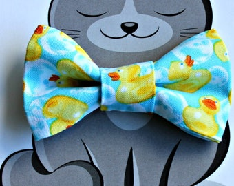 Rubber Ducky Print Bow Tie for Cat, Dog Bow Tie, Slide on Collar Accessory, Cat Costume, Pet Bowtie, Handmade in Canada, Duck, Bubbles