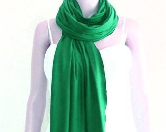 Green Long Scarf. Soft Cotton Spandex Scarf. Green Wrap Scarf.